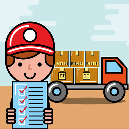 operator boy truck boxes and checklist logistic and delivery vector illustration  イラスト・ベクター素材
