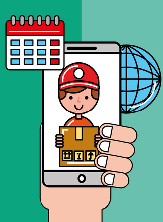 hand holding mobile operator box world logistic and delivery vector illustration