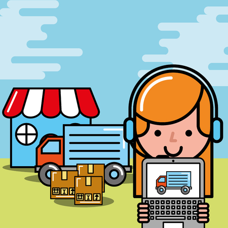 operator girl market truck laptop boxes logistic and delivery vector illustration Vettoriali