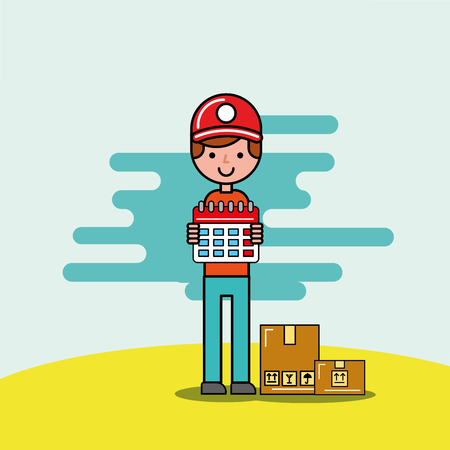 courier boy holding calendar and cardobard boxes logistic and delivery vector illustration  イラスト・ベクター素材