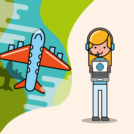 operator girl and flying plane logistic and delivery vector illustration