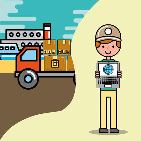 delivery man laptop world truck ship logistic vector illustration