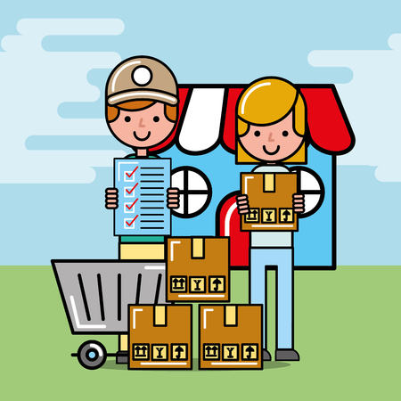 courier man and customer girl with package logistic and delivery vector illustration