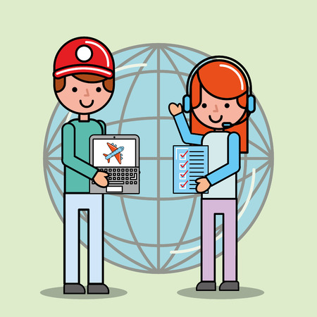 call center girl and courier boy world checklist logistic and delivery vector illustration Illustration