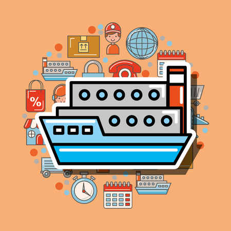 container ship cargo logistic and delivery vector illustration Vettoriali