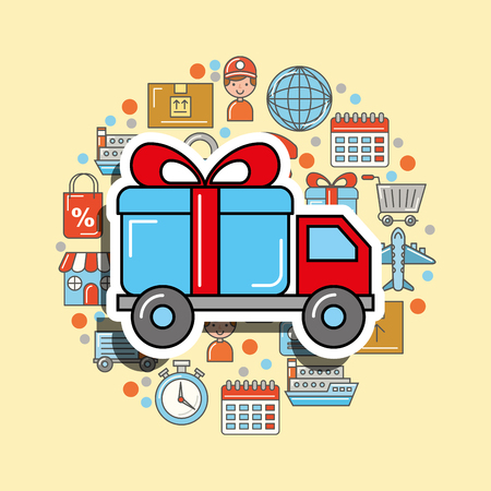 truck gift box transport logistic and delivery vector illustration