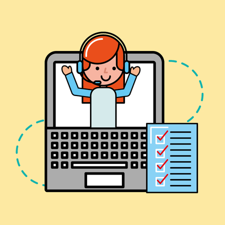 operator girl laptop checklist service logistic and delivery vector illustration Illustration