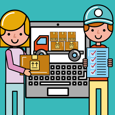 customer girl and courier boy checklist package lapopt app logistic and delivery vector illustration