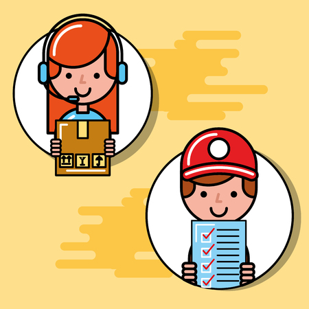 logistic courier boy and operator girl package checklist logistic and delivery vector illustration