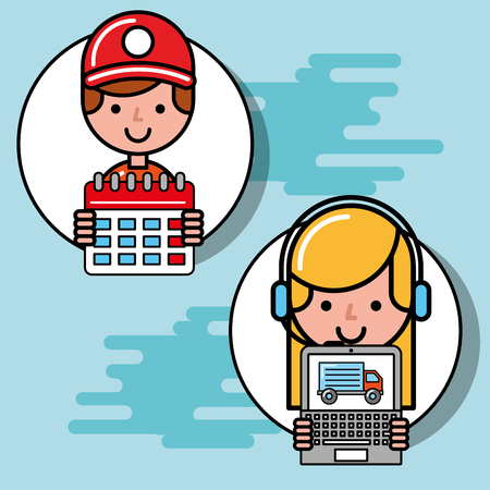 courier boy and operator girl calendar and laptop logistic and delivery vector illustration Illustration