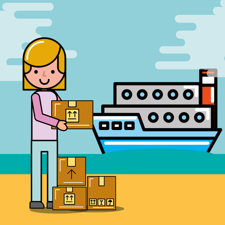 customer femlae with package and container ship logistic and delivery vector illustration
