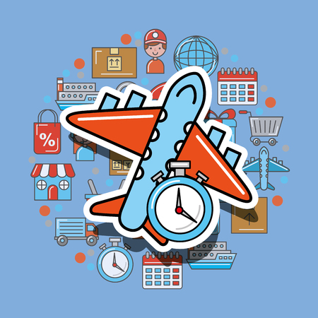 plane stopwatch timer logistic and delivery vector illustration