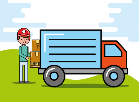 courier man carrying boxes truck logistic and delivery vector illustration  イラスト・ベクター素材