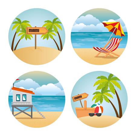 miami beach set scenes vector illustration design