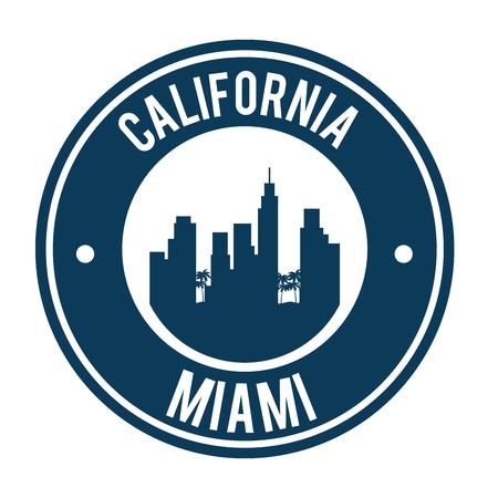 miami beach california seal vector illustration design Illustration