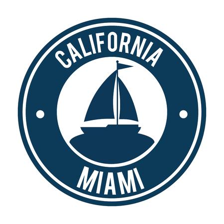 miami beach california seal vector illustration design 일러스트
