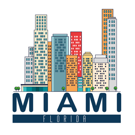 miami beach cityscape scene vector illustration design