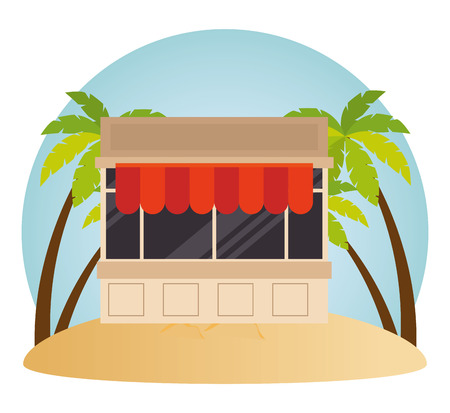 kiosk facade in the beach vector illustration design Stockfoto - 102281448