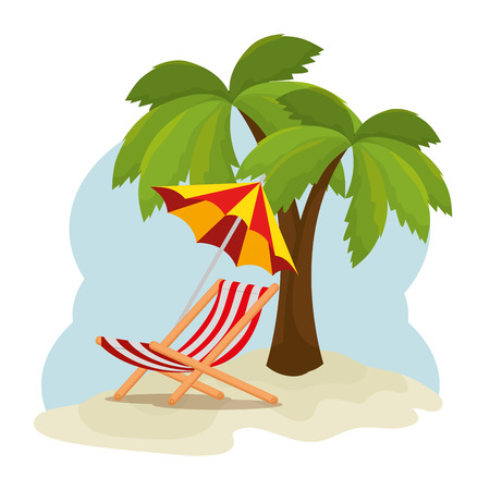 tropical beach summer scene vector illustration design