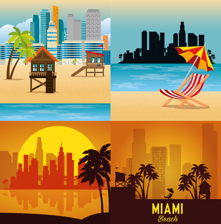 miami beach cityscape set scenes vector illustration design