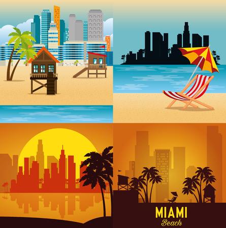 miami beach cityscape set scenes vector illustration design