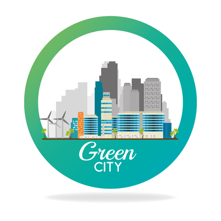 buildings ecology green city scene vector illustration design