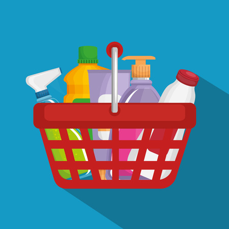 supermarket products in shopping basket vector illustration design