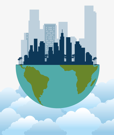 ecology green city with earth planet vector illustration design