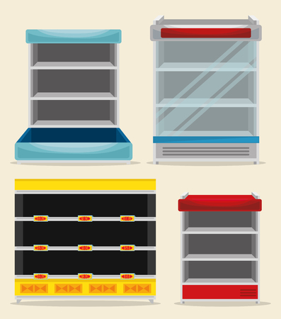 supermarket set shelvings empty vector illustration design