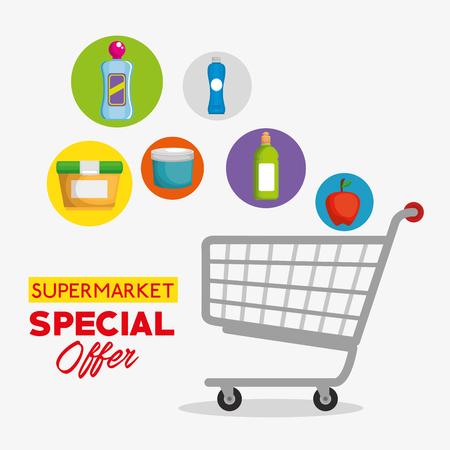 Productos de supermercado en carrito de compras, diseño de ilustraciones vectoriales