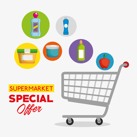 supermarket products in shopping cart vector illustration design Illusztráció