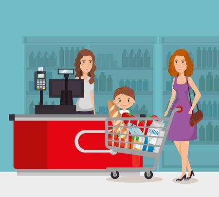 Personne dans la conception d'illustration vectorielle de point de paiement de supermarché Vecteurs