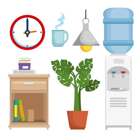 office workplace set icons vector illustration design