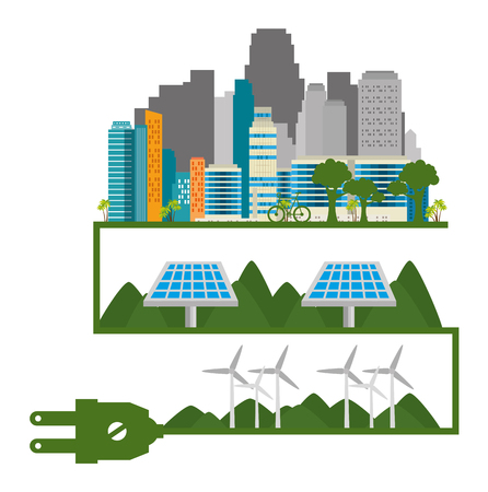 buildings ecology green city scene vector illustration design Illustration
