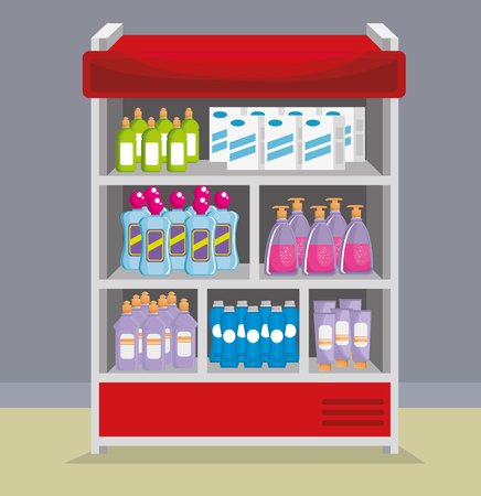 supermarket shelvings with products vector illustration design