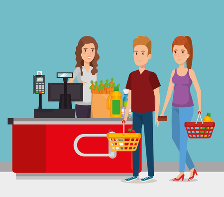 person in supermarket payment point vector illustration design Stock Illustratie