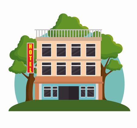 bâtiment, façade, icône, vecteur, illustration, conception Vecteurs
