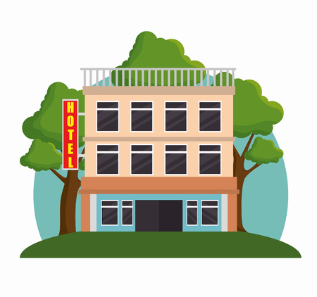 building hotel facade icon vector illustration design  イラスト・ベクター素材
