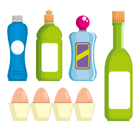 supermarket set products with special offer vector illustration design
