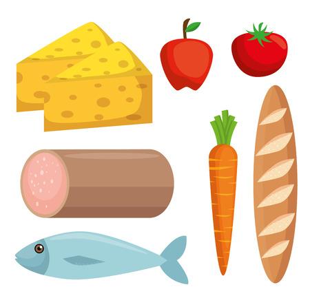 set supermarket groceries icons vector illustration design