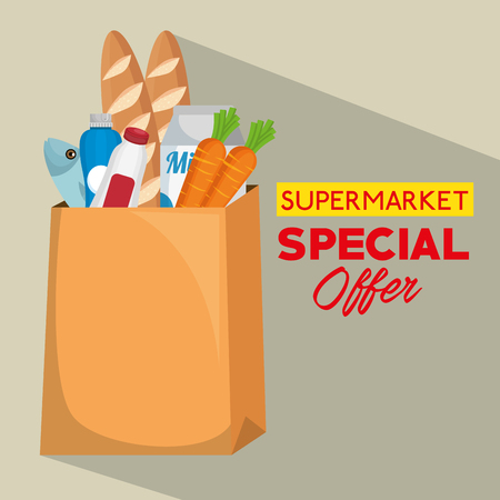 shopping bag with supermarket products vector illustration design