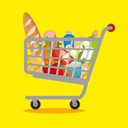 supermarket products in shopping cart vector illustration design Çizim