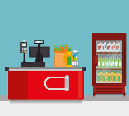 supermarket shelvings with register machine vector illustration design