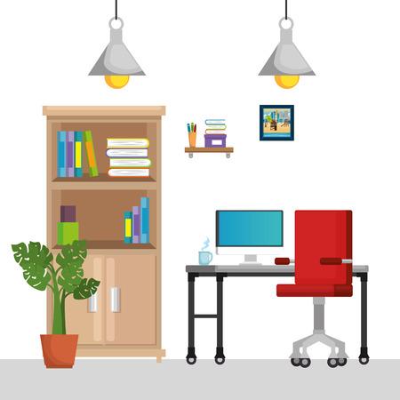 Diseño de ilustración de vector de iconos de escena de lugar de trabajo de oficina