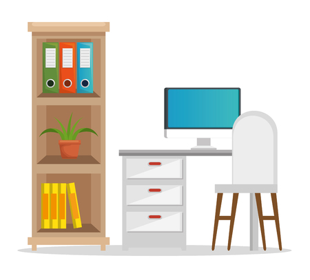 office workplace scene icons vector illustration design Illustration