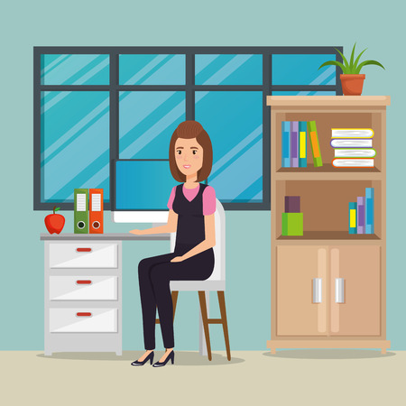 businesswoman in the office workplace scene vector illustration design Illustration