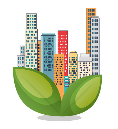 buildings ecology green city scene vector illustration design  イラスト・ベクター素材