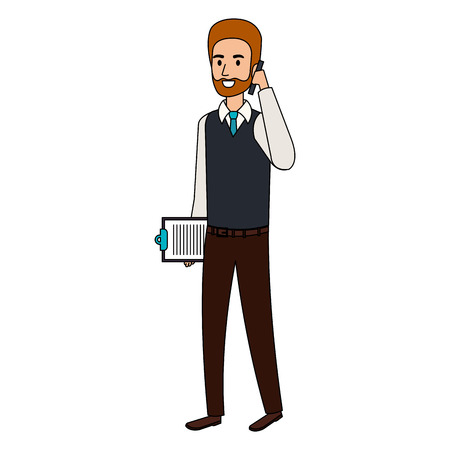 businessman calling with smartphone and clipboard icon vector illustration