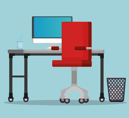 office workplace scene icons vector illustration design Illustration