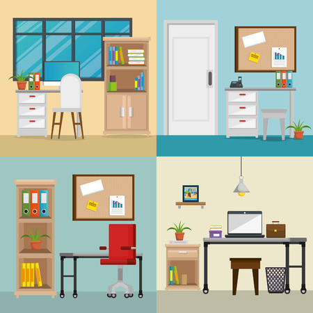 office workplaces set scenes icons vector illustration design